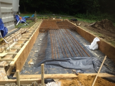 Concrete slab for a submerged aerated filter, Little Chesterford